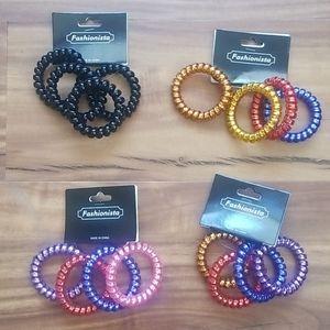 4 pc Fashionista hair ties, / bracelets